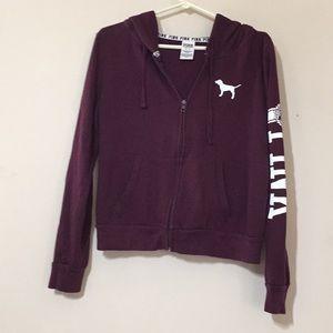 VsPink hooded zip up sweatshirt